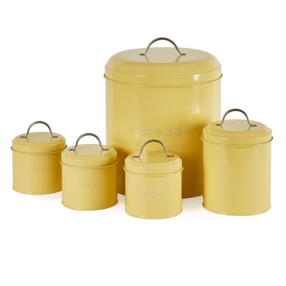 5 Piece Yellow Kitchen Canister Set Yellow