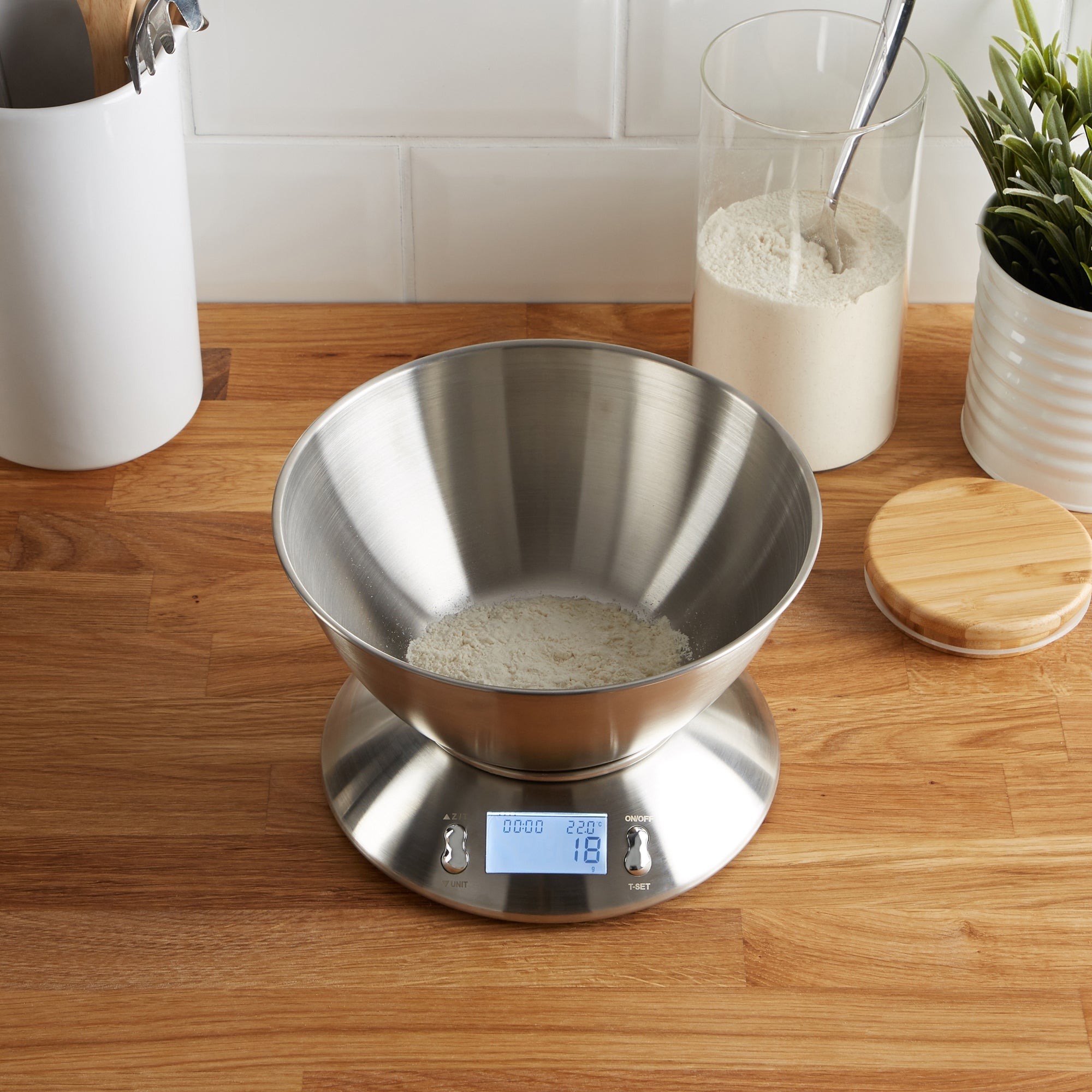 Click to view product details and reviews for Dunelm Stainless Steel Electronic Kitchen Scales With Measuring Bowl Silver.