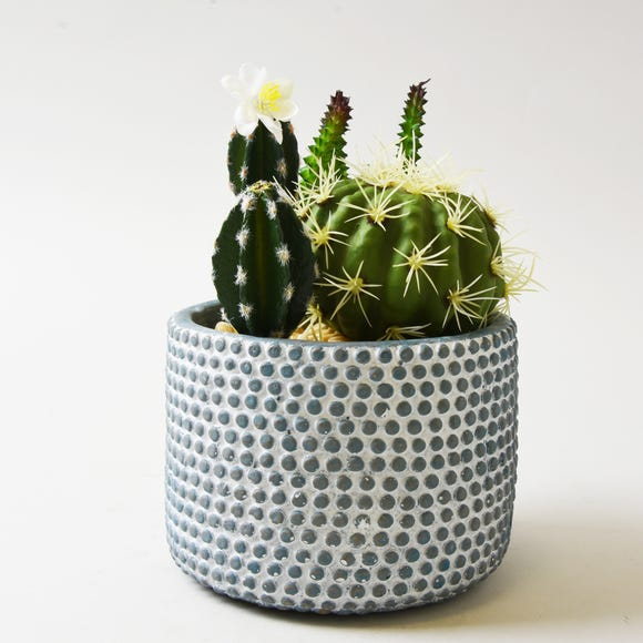 Artificial Cactus Green in Textured Pot 19cm MultiColoured