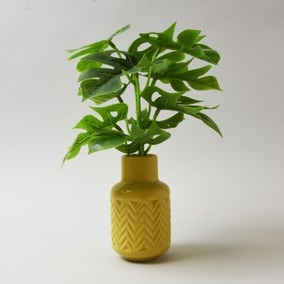Artificial Cheeseplant in Ochre Ceramic Vase 28cm