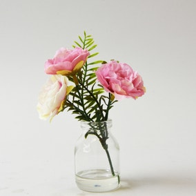 Artificial Roses Pink in Glass Jar 16cm
