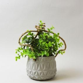 Artificial Herb Green in Cement Hanging Pot 24cm