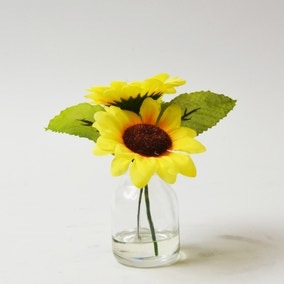 Artificial Sunflowers Yellow in Glass Pot 13cm