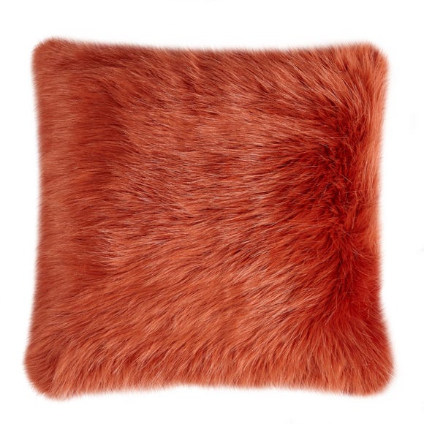 Fluffy Faux Fur Cushion Cover Orange undefined