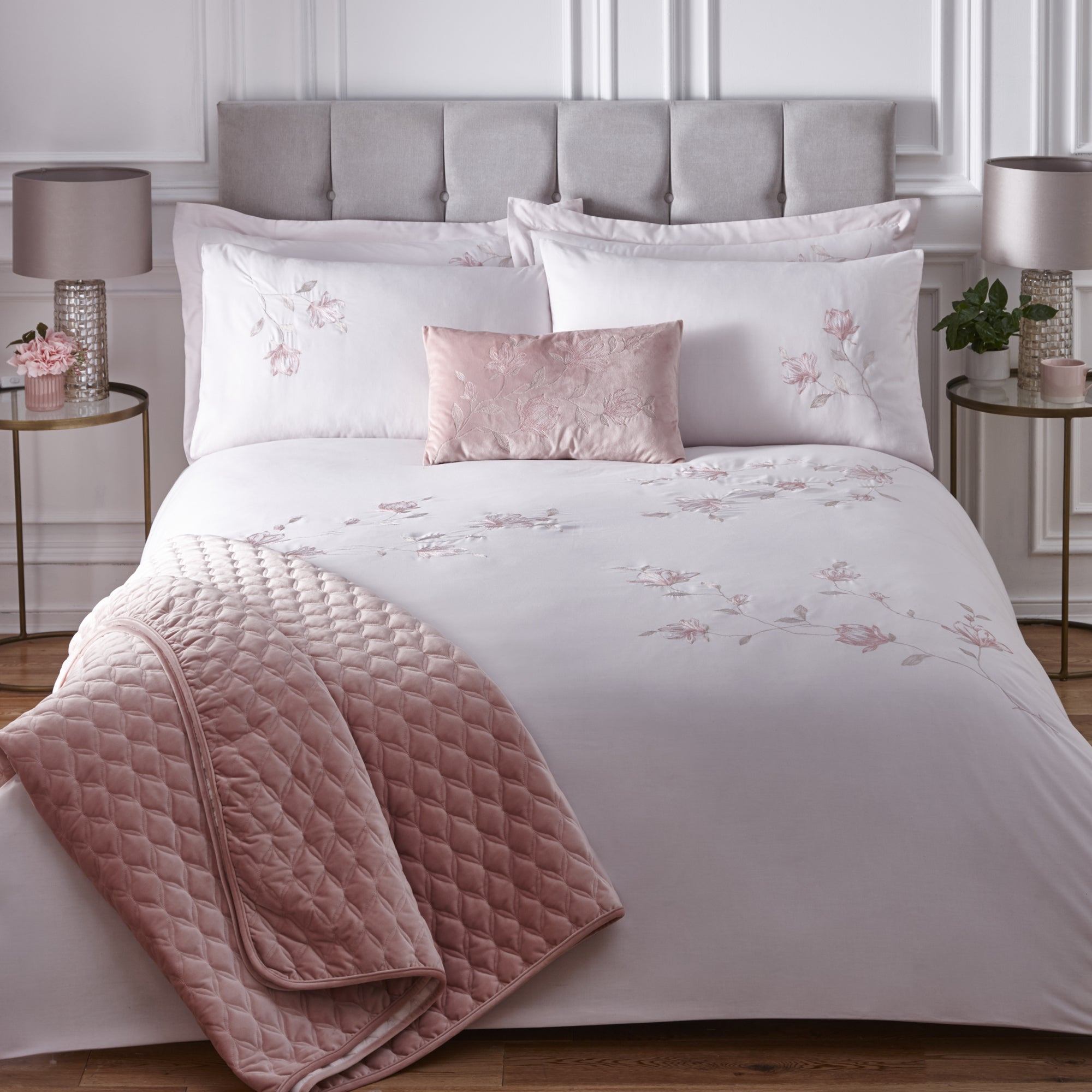 Dunelm Magnolia Pink Embroidered Duvet Cover and Pillowcase Set Pink | Double