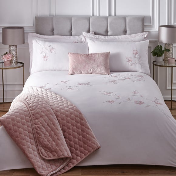 Magnolia Pink Embroidered Duvet Cover, Blush Pink And Grey Bedding Dunelm