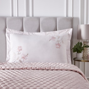 Magnolia Pink Embroidered Oxford Pillowcase