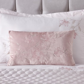 Magnolia Pink Velvet Embroidered Boudoir Cushion