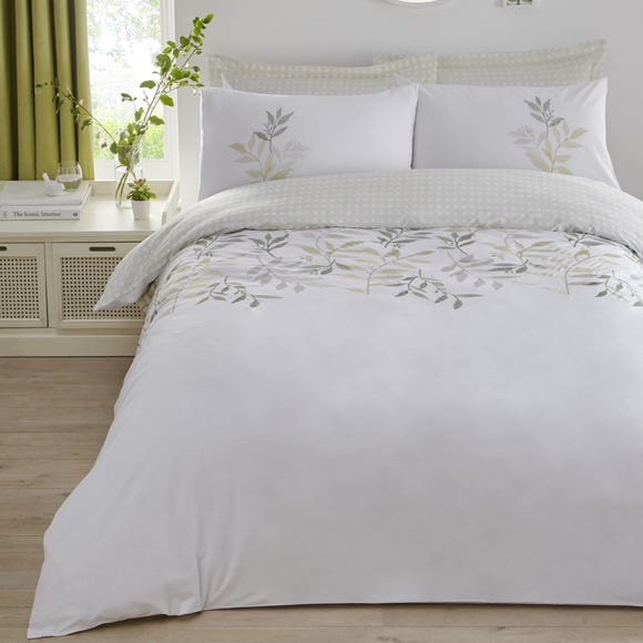 Ayla Green Embroidered Reversible Duvet Cover and Pillowcase Set  undefined