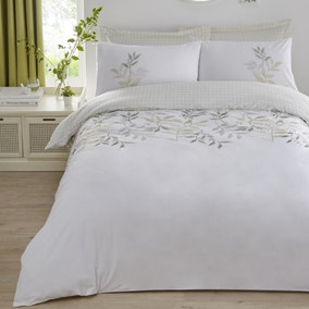 Ayla Green Embroidered Reversible Duvet Cover and Pillowcase Set