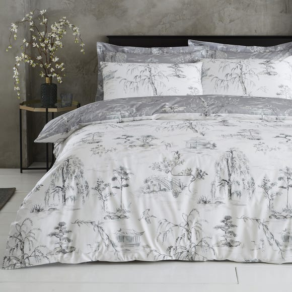 Chinoiserie Grey Reversible Duvet Cover and Pillowcase Set Grey undefined