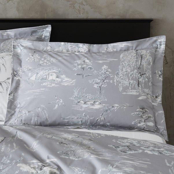 Chinoiserie Grey Oxford Pillowcase Grey