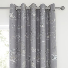 Chinoiserie Grey Blackout Eyelet Curtains