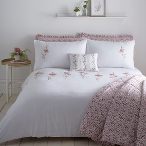 Callie Pink Embroidered Duvet Cover and Pillowcase Set
