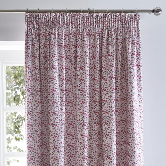Callie Floral Pink Blackout Pencil Pleat Curtains Pink undefined