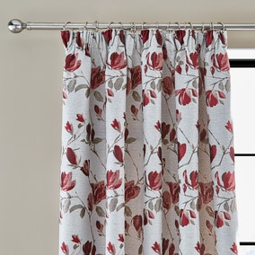 Ellis Floral Jacquard Red Pencil Pleat Curtains