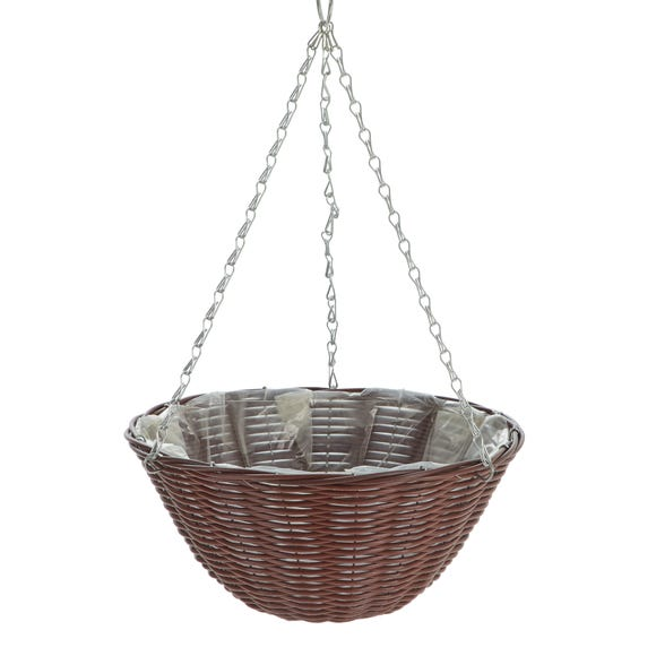 Rattan Effect Brown Hanging Basket Brown