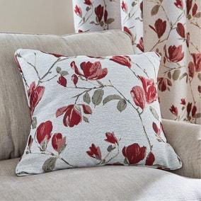 Ellis Floral Jacquard Red Cushion