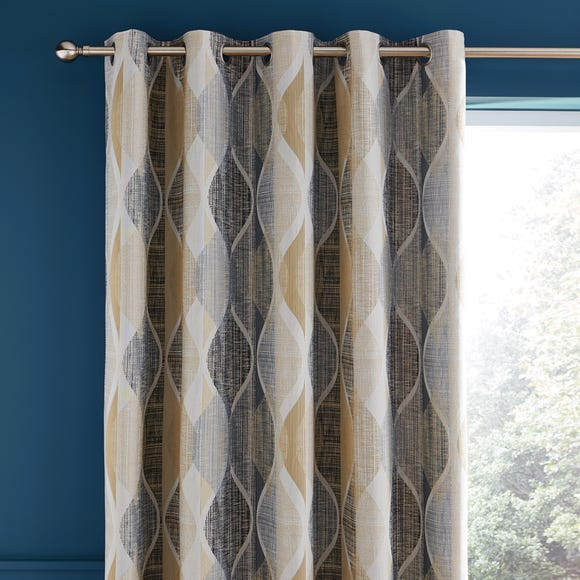Elijah Geometric Jacquard Teal Eyelet Curtains  undefined