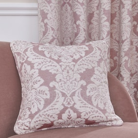 Chenille Jacquard Damask Pink Cushion