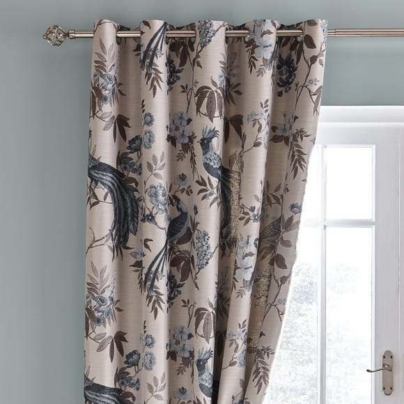 Palace Birds Jacquard Teal Eyelet Curtains Teal (Blue) undefined