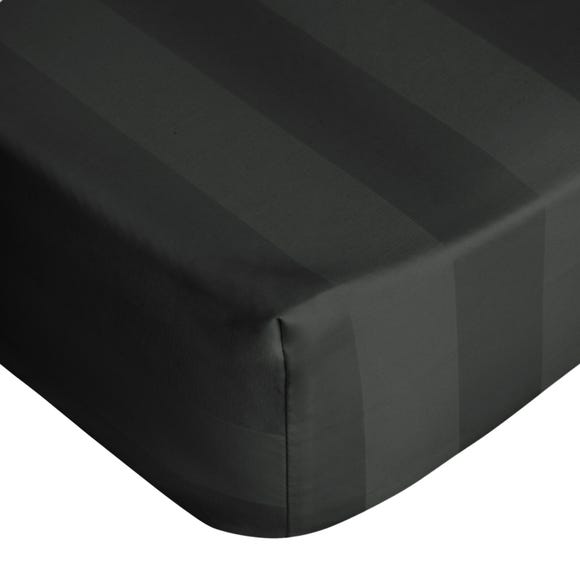 Hotel 300 Thread Count Egyptian Cotton Stripe Fitted Sheet Black undefined