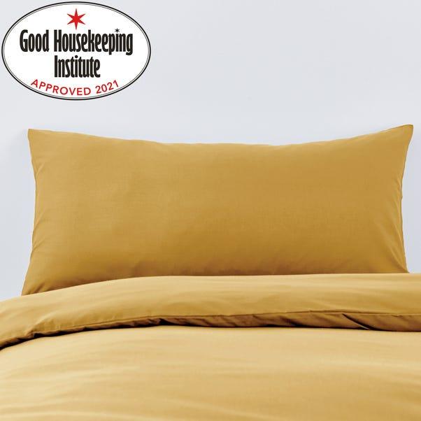 Non Iron Plain Dye Mustard Bolster Pillowcase Mustard