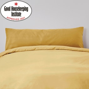 Non Iron Plain Dye Mustard Large Bolster Pillowcase