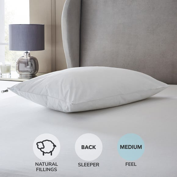 Hotel Duck Down Medium-Support Pillow White