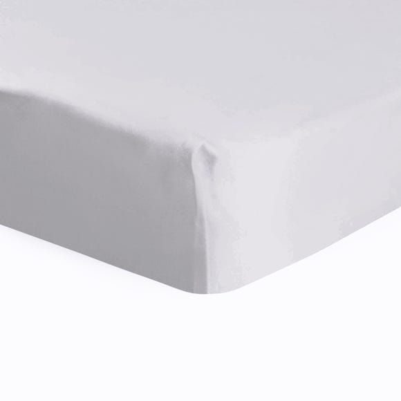 Dorma 500 Thread Count 100% Cotton Sateen Plain Fitted Sheet Silver undefined