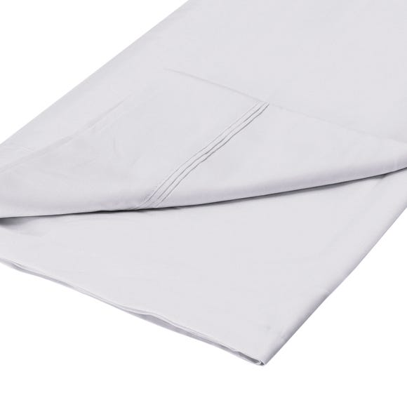 Dorma 500 Thread Count 100% Cotton Sateen Plain Flat Sheet Silver undefined