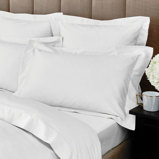 Hotel Egyptian Cotton 230 Thread Count Sateen White Oxford Pillowcase