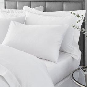 Hotel Egyptian Cotton 230 Thread Count Sateen White Housewife Pillowcase Pair