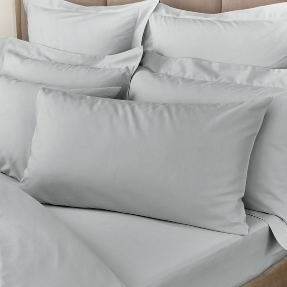 Hotel Egyptian Cotton 230 Thread Count Sateen Silver Housewife Pillowcase Pair
