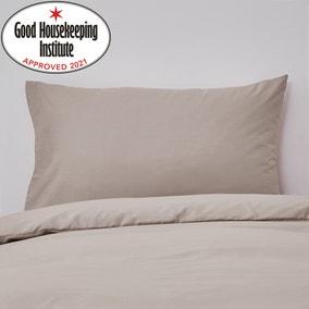 Non Iron Plain Dye Natural Housewife Pillowcase Pair