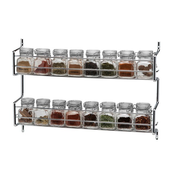 Hahn Metro Clip Top 2 Tier Wall or Cupboard Spice Rack with 16 Jars Silver