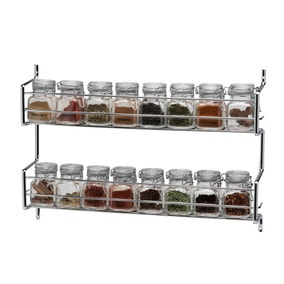 Hahn Metro Clip Top 2 Tier Wall or Cupboard Spice Rack with 16 Jars