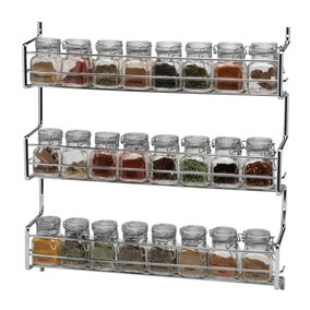Hahn Metro Clip Top 3 Tier Wall or Cupboard Spice Rack with 24 Jars