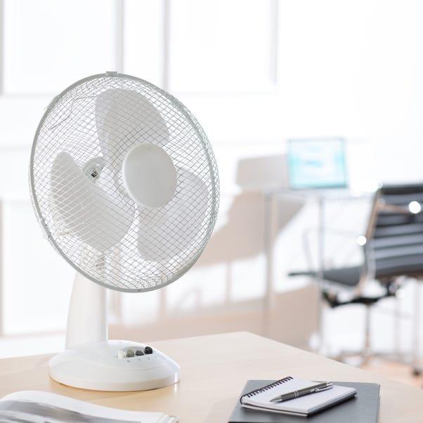 White 12 Inch Desk Fan White