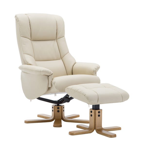 Florence Swivel Recliner Chair and Footstool Ivory