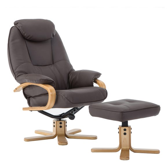 Pisa PU Leather Swivel Recliner Chair and Footstool Brown