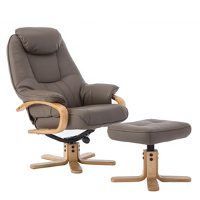 Pisa PU Leather Swivel Recliner Chair and Footstool