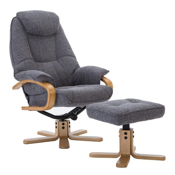 Pisa Fabric Swivel Recliner Chair and Footstool Grey
