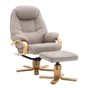 Pisa Fabric Swivel Recliner Chair and Footstool
