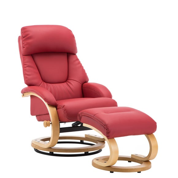 Livia Swivel Recliner Chair and Footstool Red