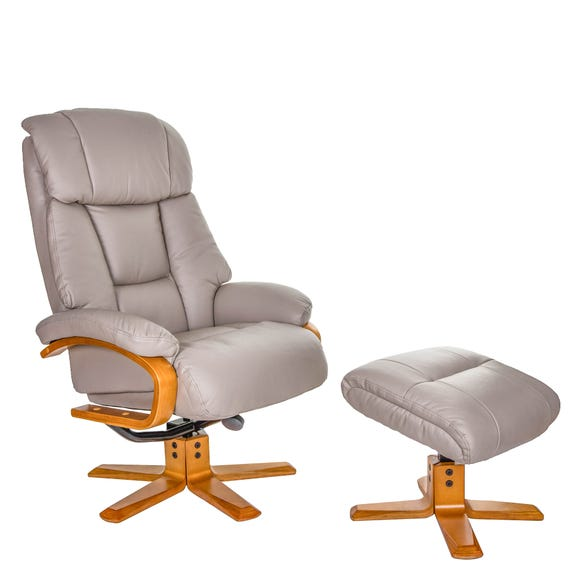 Nice Real Leather Swivel Recliner Chair And Footstool