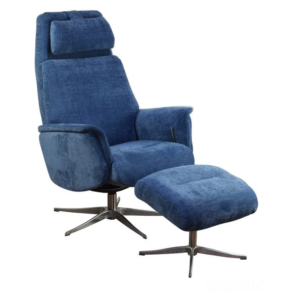 Albury Swivel Recliner Chair and Footstool Blue