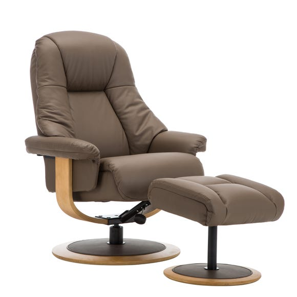 Jersey Real Leather Swivel Recliner Chair and Footstool Truffle
