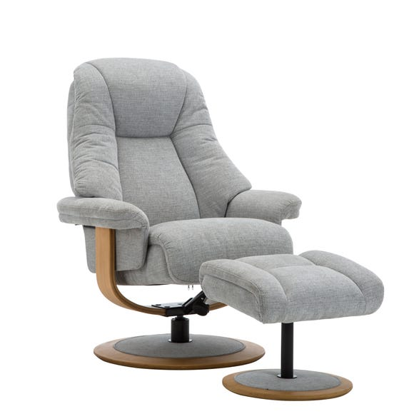 Jersey Fabric Swivel Recliner Chair and Footstool Light Grey