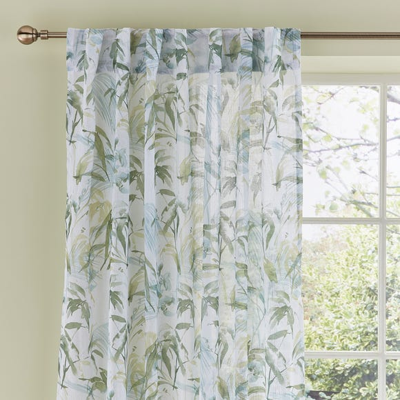 Tropical Leaf Green Hidden Tab Top Single Curtain Panel  undefined